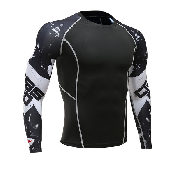 Compression t-shirts hommes 3d Teen Wolf Maillots Chemise à manches longues Fitness Lycra Séchage rapide Collant Crossfit T-Shirts Mode Chaude