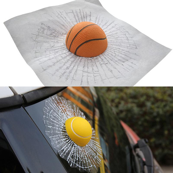 Car 3D Sticker Window Full Body Stickers Crazy Prank Ball Hits Tennis Basketball Broken Glass For Car Styling Auto Accessories