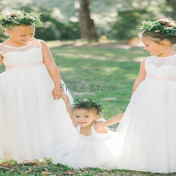 Cheap A line Sheer Neck Chiffon flower girl dresses With Sash Summer garden Junior Bridesmaid Dresses For Boho wedding Simple Lace Toddler