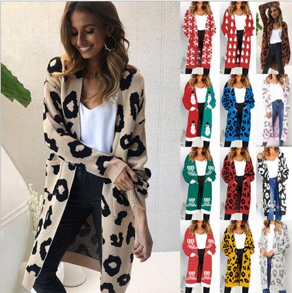 b0bf6068251d Knitted Jumper Women Autumn Winter Cardigan Sweater Womens Christmas Tree  Deer Leopard Print Outerwear Coats Womens Long Sweaters