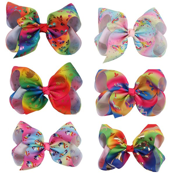 8 Inch Big Diamond Unicorn Hair Bow With Clip Colorful Rhinestone Hair Bow For Girl Crystal Bow