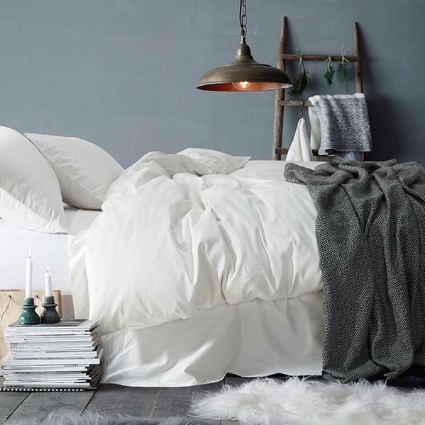 6pcs 100% Egyptian Coon Bedding Set White Duvet Cover Set Beige Bedclothes Queen King Size Bed Linens Same Color Pillowcase