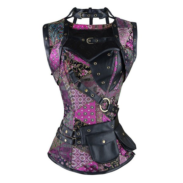 Stylish Skull Pattern Steampunk Corset Black Sexy Gothic Women's Punk Faux Leather Steel Boned Bustiers Plus Size Espartilho 6XL
