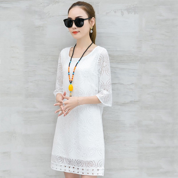 New Women Dress Summer Casual Hollow Lace Dresses Ladies Half Sleeve Vestidos Mujer Dress Plus Size White Robe Femme Mode 2018