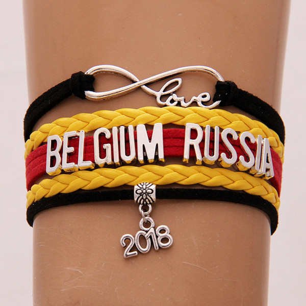 2018 World Cup Russia Band Bracelet Infinity Love Belgium RUSSIA Charm Handmade Letter Braided Weave Bracelets Soccer Fans Jewelry