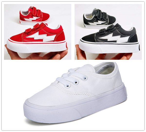 classic children's shoes infant 2018 old skool casual boys girls black white red baby kids canvas skateboard sport sneakers 22-35