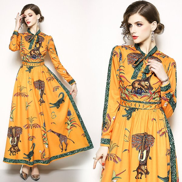 Retro Print Maxi Dresses Elegant Party Bow Collar Prom Evening Gowns Yellow Long Sleeve Casual Dresses