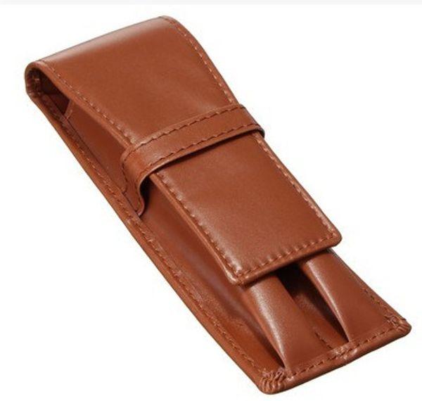 Pen Pocket for 2 pens PU Brown pen bags men pens bags high end pen clip stationery pencile supply