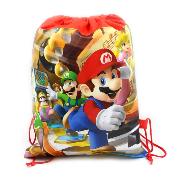 Birthday Party Decorate Mochila Baby Shower Red Super Mario Drawstring Gifts Bags Boys Favors Non-woven Fabric Backpack 1PCS/LOT