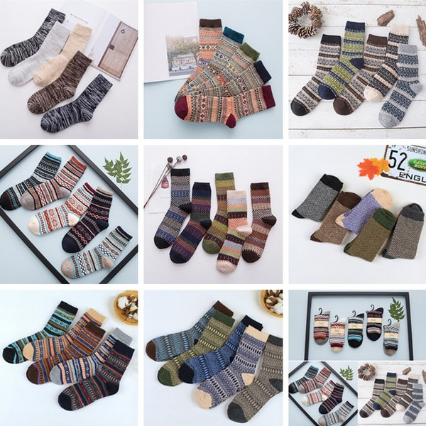 top popular Wool Socks New Style Women Men Winter Thermal Warm Socks Fashion Colorful Thick Socks Ladies Girls Retro Rabbit Wool Casual Sock BAB59 2021
