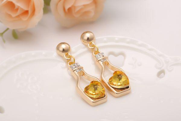 New vows bottle necklaces, sparkling peach hearts, Austrian crystal necklaces-love bottle necklaces