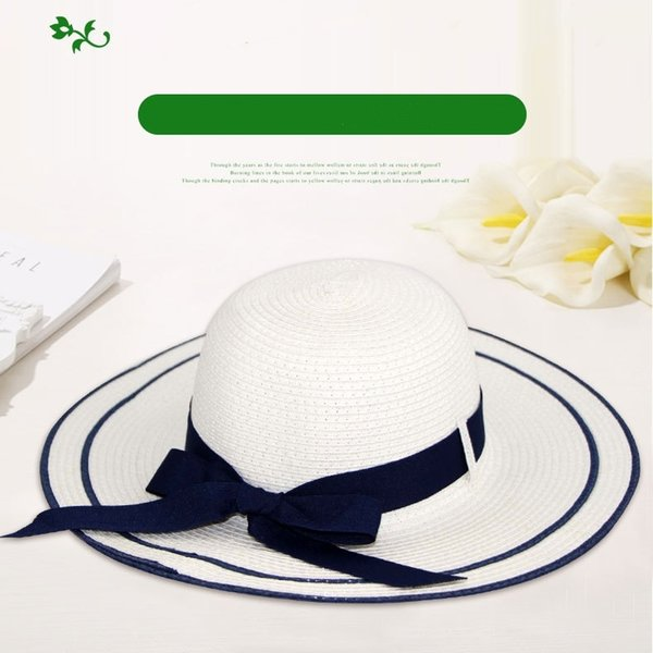 Woman Spring and Summer Straw hat Bowknot weaving Blue and White Fresh Pure Sun hat Lovely Navy wind Foldable Factory batch Leisure and Cool