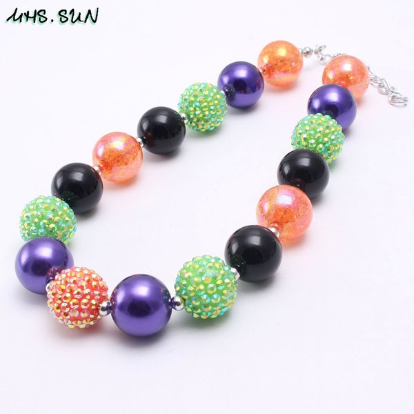 European Fashion Colors Halloween Girl Kid Chunky Beads Necklace Newest Halloween Gift Bubblegum Bead Chunky Necklace Jewelry For Children