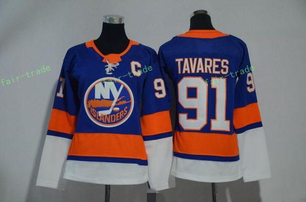 New York Adalılar 91 John Tavares Formalar Mavi Boş Tüm Stiched Hokeyi Jersey Erkekler Kadınlar Gençlik Çocuklar Çocuk Kız