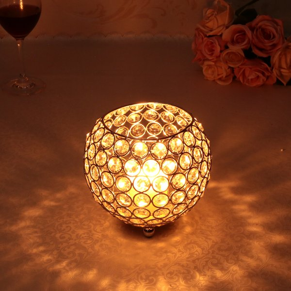 15cm Dia Metal Crystal Bowl Candle Holder/Lantern for Wedding,Birthday Party Decoration Hollow Flower Vase,12pcs/lot