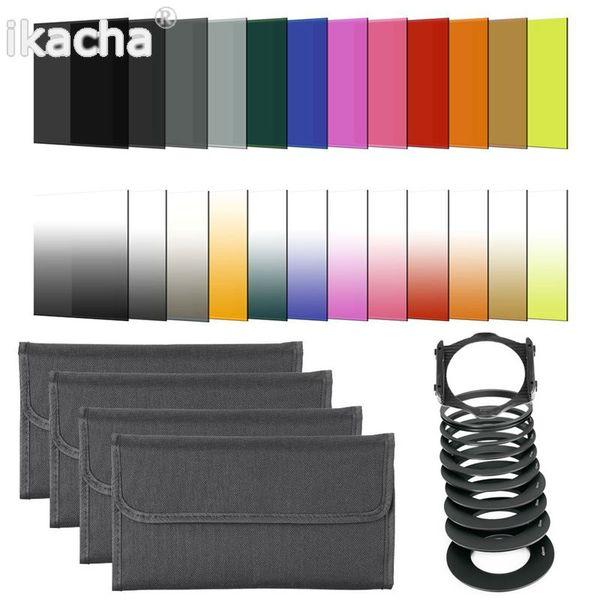 filter case 41 in1 24pcs Color Filter +4 Cases+49 52 55 58 62 67 72 77 82mm ring Adapter+1 holder+Wide-Angle Holder+lens hood