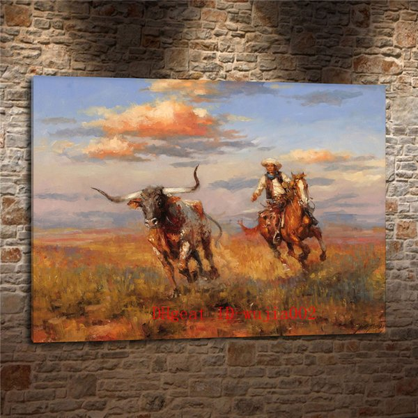 2019 Western Cowboy Grazing Cattle Canvas Painting Living Room Home Decor Modern Mural Art Oil Painting From Wujia002 6 04 Dhgate Com