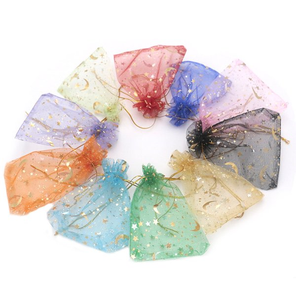 300pcs/lot Printed Organza Jewelry Bags 9*12cm Transparent Jewelry Wedding Gift Packing Party Favor Jewelry Pouches