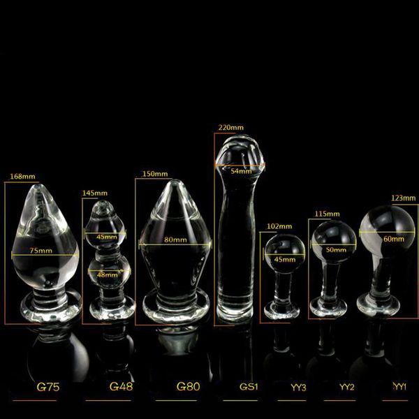1PCS Big Crystal Dildo Large Glass Anal Plug Pyrex Glass Dong Female Sex Toys for Women Men Vaginal Anal Masturbation Fake Penis D18111304