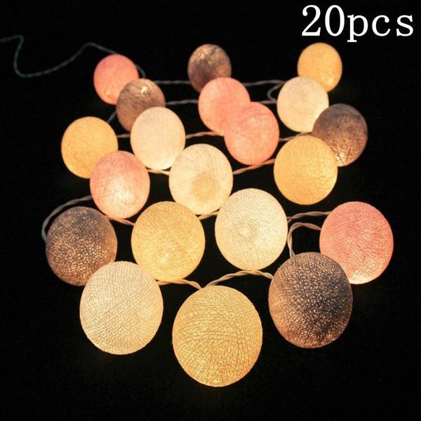 Pvc Cotton Balls Rope 20 Led Sweet Ball Lights String Home Garden Fairy Lamp Wedding Patio Party Decoration Luminous Lights