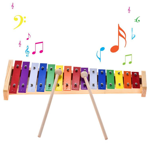 best selling Colorful Glockenspiel Xylophone Wooden & Aluminum Percussion Musical Instrument Educational Toy 15 Tone
