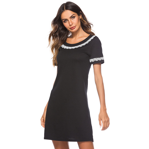 Cheap Price Summer Women Clothing Casual Dress Short Sleeve Boat Neck Elegant Black And White Splicing Loose Dress
