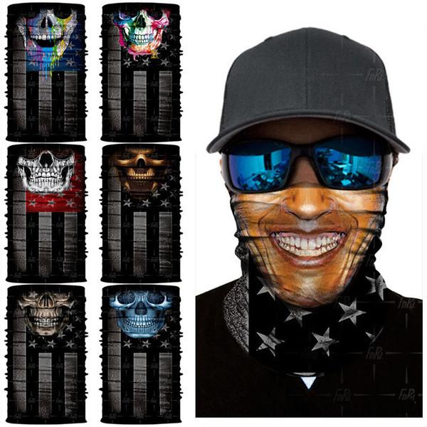 Bandera americana Pañuelo en 3D Desierto A prueba de viento Impreso Protector solar Bufandas Versátil Tubo facial Máscara Bufanda de ciclismo mágico 12 estilos Gratis DHL G710F