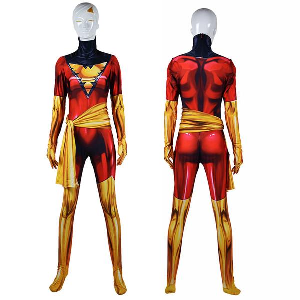 Adult Kids Cosplay X-Men Phoenix Halloween Party Anime Moive Seperhero Costume Zentai Jumpsuit Bodysuit Catsuit Belt Plugsuit