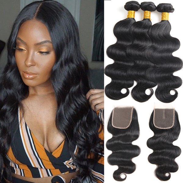 Brazilian VirginHair Body Wave 3 Bundles with Free Closure Indian Remy Human Hair 3 Bundles with Middle Closure Hair Extensions Body Wave