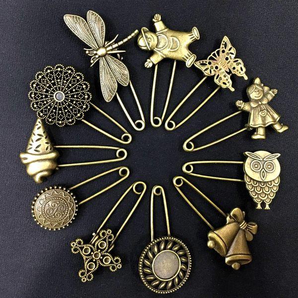 Creative Bronze Vintage Hijab Pins / Broches Pins / Safety Pins Retro exquisito broche Material de bricolaje Aleación Accesorios de joyería gratis DHL G998F
