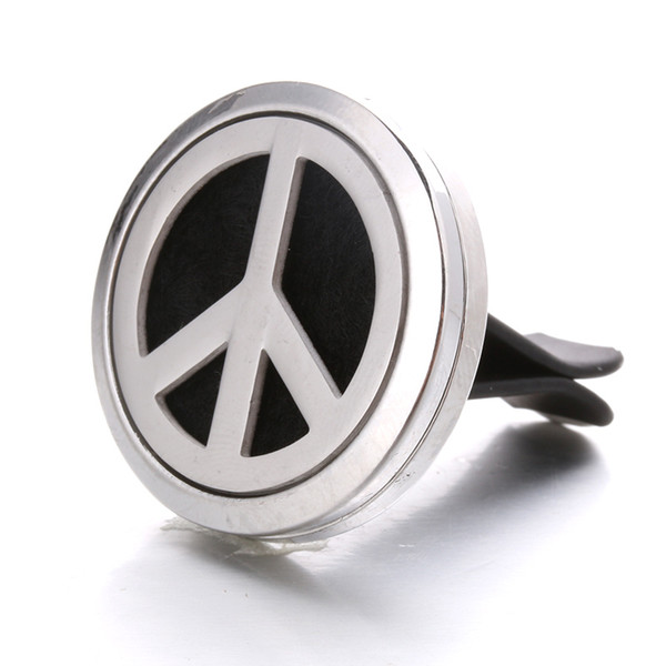 New Peace Sign Stainless Steel Fragrance Box Burst Clip Car Accessories Randomly Send 1 Pieces Mat Factory Direct HJ08