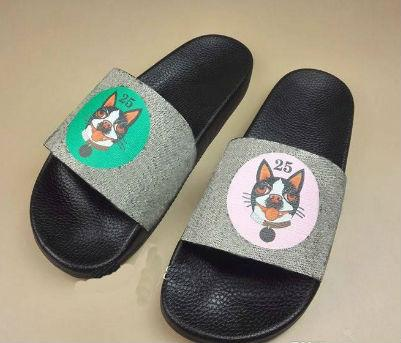 Erkekler Kadınlar Lüks Sandalet Tasarımcı Ayakkabı Köpek kedi kaplan kurt baskı Lüks Slayt Yaz Moda Geniş Düz Kaygan Sandalet Terlik Flip Flop