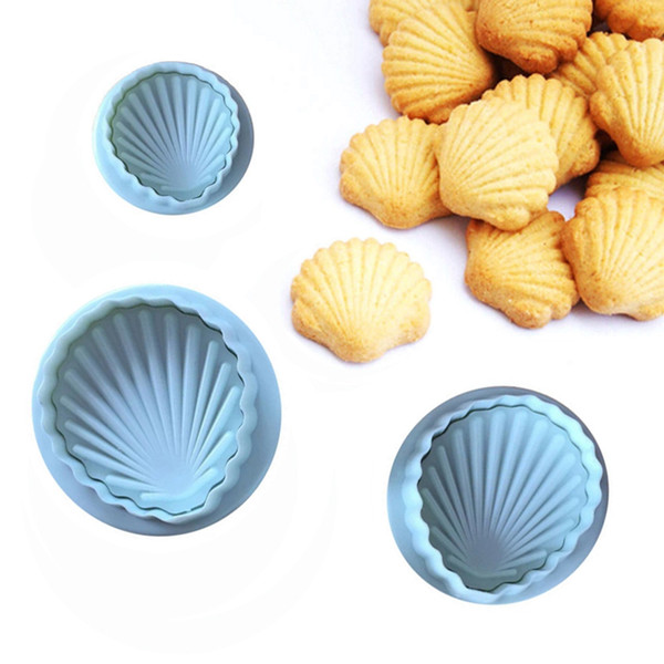 3 Pcs/Set Shells Cake Fondant Biscuits Dough Plunger Cutters Decorating Sugar Craft Gum Paste Tools