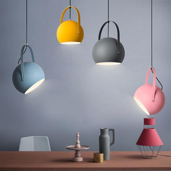 Moderno LED luces colgantes del norte de Europa colorido restaurante lámparas colgantes Inicio Decration accesorios de iluminación E27