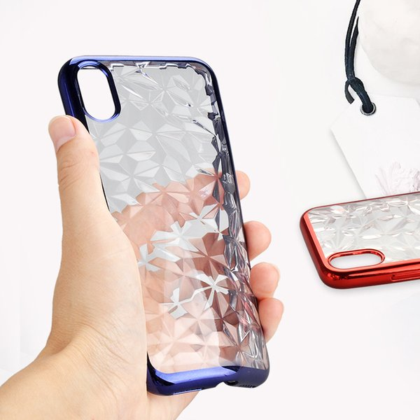 Diamond Shape Electroplating Border Design Soft TPU Phone Case Chic Shockproof Case Cover for Samsung A8 2018 S8 S9 Plus