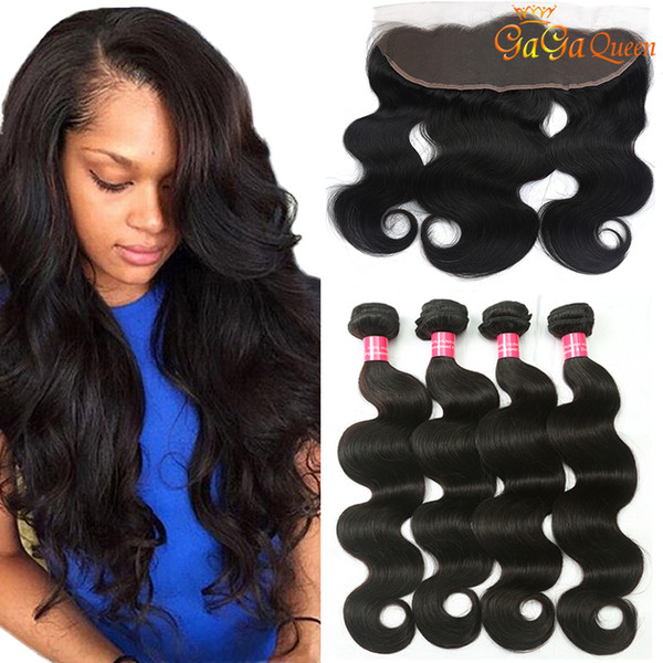 8a Brazilian Body Wave Human Hair With 4x13 Lace Frontal Closure Ear to Ear Lace Frontal With Bundles Brazilian virgin hair Body Wave