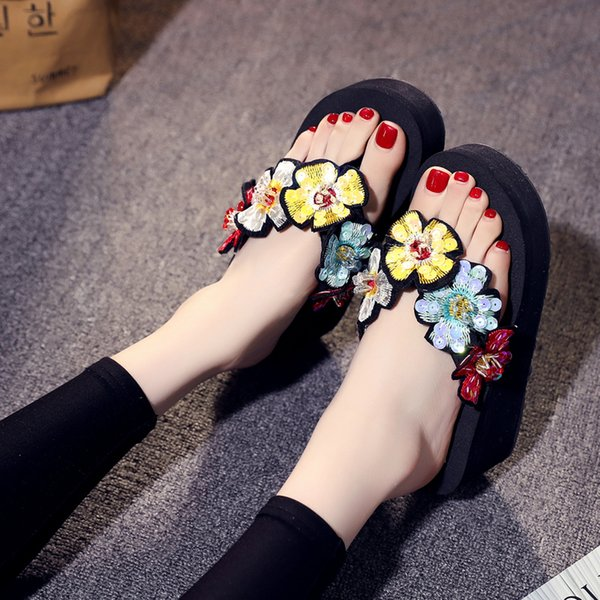 6CM Heel Height Bling Beach Shoes Summer Fashion Outside Wedges Flip Flops High Heels Women Slippers