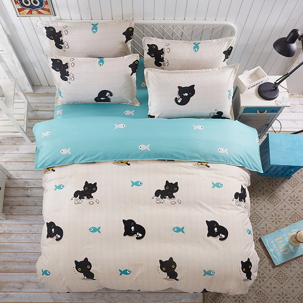 Lovely Cartoon Cat And Dog Picture Boy And Girl Adult Children Bedding Set 4pcs Bedding Set Bedding Sheets And Pillowcases
