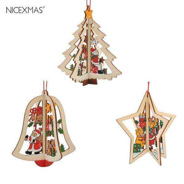 3pcs Wooden Jingle Bell Five-Pointed Star Christmas Tree Pendant Decoration Ornaments For Festival Party Hanging Xmas Tree Decor