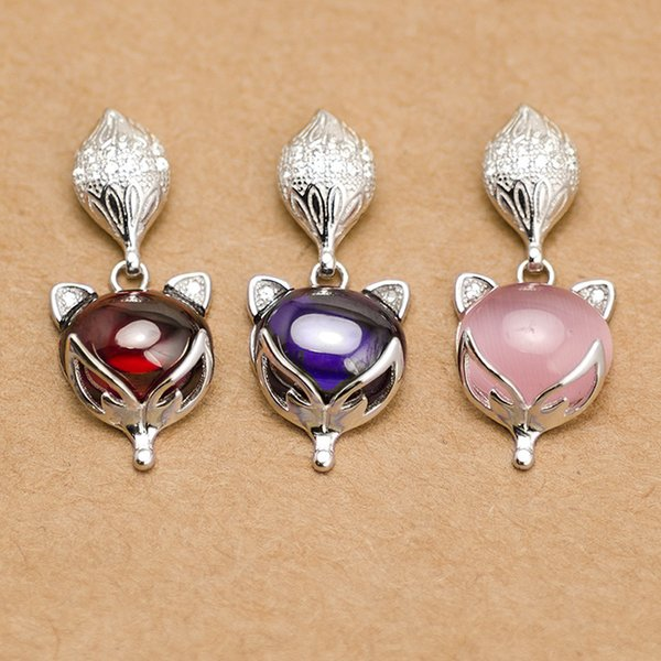 925 Silver Fox Pendant With Pink Pomegranate Crystal Quartz Fox Pendant Bead Fit Necklace Making