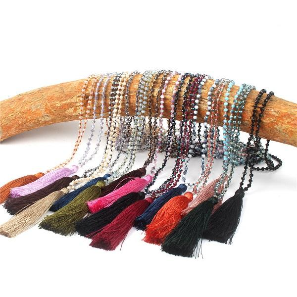 Glass Crystal Mala Necklace Handmade Knot Faceted Roundelle Crystal Long Tassel Buddhism Meditation Necklace For Women Gift
