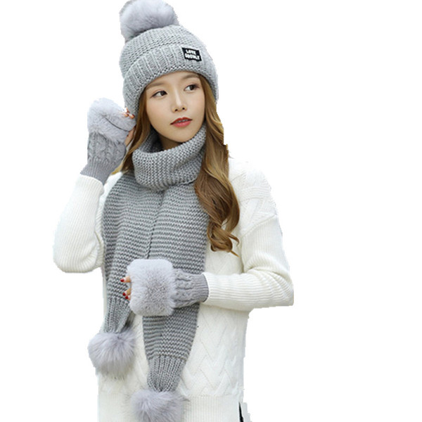 new wool ball three knitted beanie +long scarf + wool gloves sets for girls over 10 years women fashion cap collar suits hats