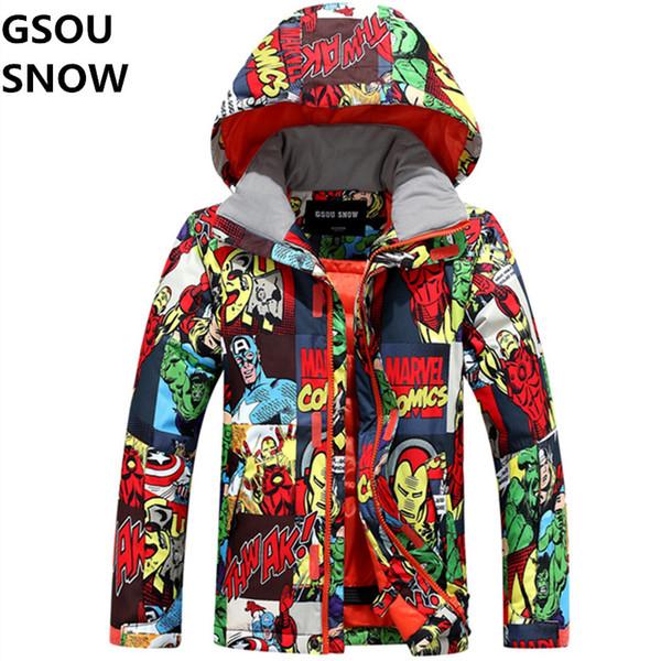 Gsou Snow Winter Kids Boys Ski Jackets Snowboard Boy Jacket Super Warm Boys Colorful Cartoon Printed Snow Outdoor Sports Coats