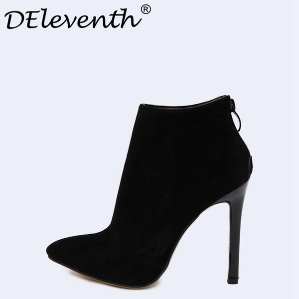 Design Vertrag Solid Black Frauen Spitz Stiletto High Heels Schuhe Booties Frau Stiefel Damen Schuhe rot