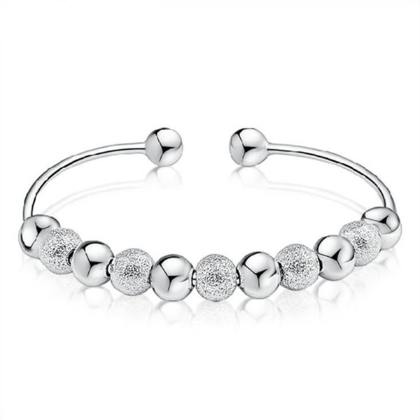 925 Silver Ball Bangle Fashion Open Size Adjustable Original S925 Sterling Silver Bangles for Women Jewelry CY295