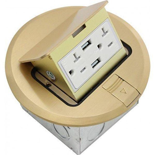 Орбиты отраслей FLBPU-дю-Р-С-br круглая попа до пола крышка коробки только с дуплексной розетки и два порта USB, Тампер, латунь