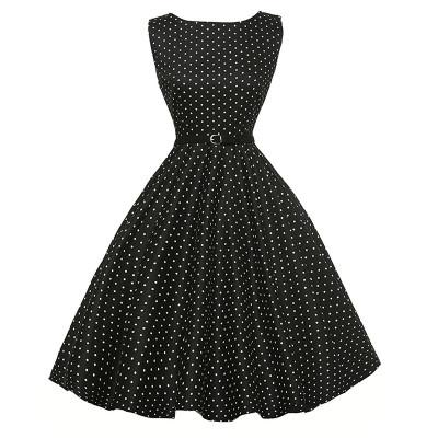 Women's Boatneck Sleeveless Vintage Tea Dress With Belt Vintage Hepburn style 50s Dresses for party Ball Evening occasion Party dress