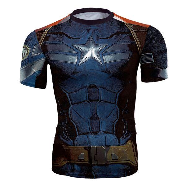 Men's fashion creativity t-shirt superman tights tee superhero American captain sport short sleeves cycling fast dry basketball vest