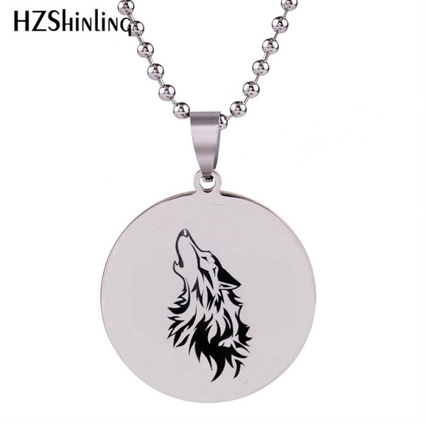 2019 nueva etiqueta del perro del lobo collar de acero inoxidable Arte pendiente redondo de plata hechos a mano de bolas de cadena de joyería regalos para los hombres