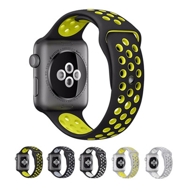 sport silicone strap band for apple watch series 3/2/1 42mm 38mm rubber wrist bracelet watchband for iwatch